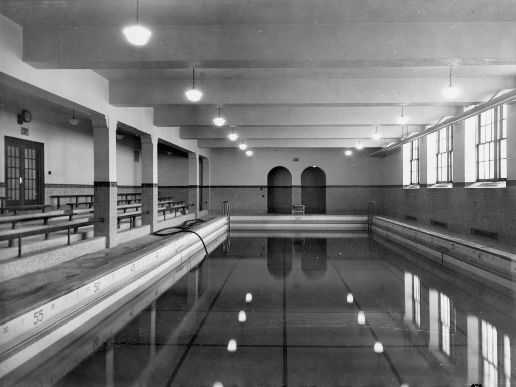 Swimming Pool, Eastman Hall (1930), St. Cloud State University, 1930. Photo from St. Cloud State University Archives.