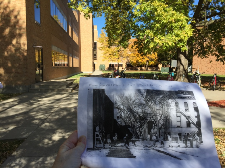 View of Stewart Hall with historic photo Old Main Building, 1948.