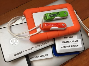There are several brands of portable external hard drives on the market, with varying storage capacity. Photo by Jannet Walsh, multimediatoolkit.me, © 2015 Jannet Walsh. All Rights Reserved.