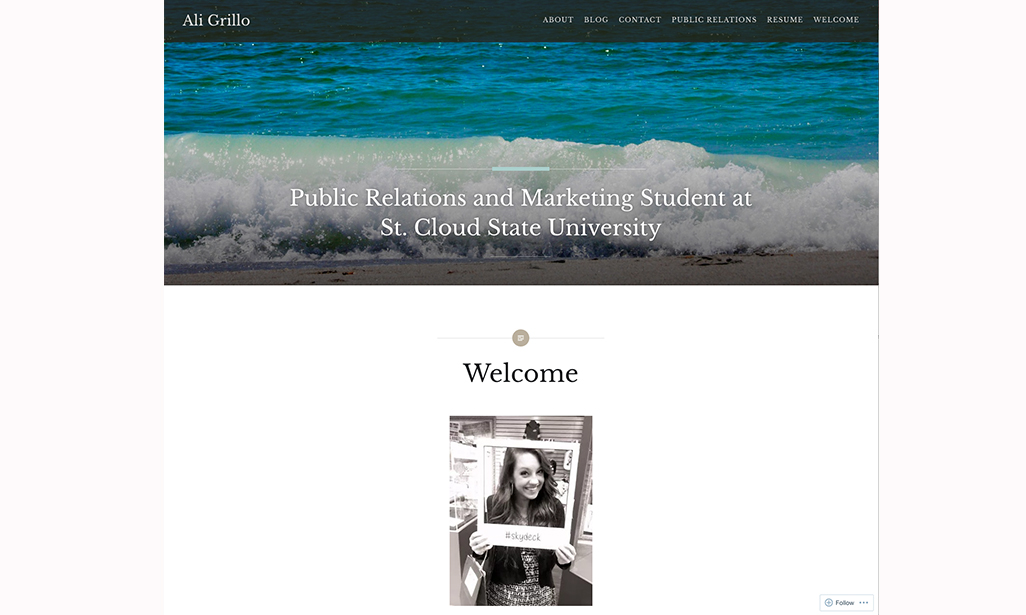 Visit WordPress site by Ali Grillo, Student at St. Cloud State University