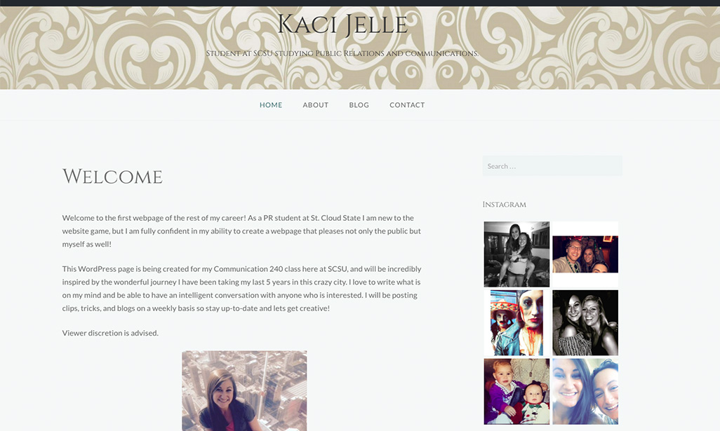 Visit WordPress site by Kaci Jelle, Student at St. Cloud State University