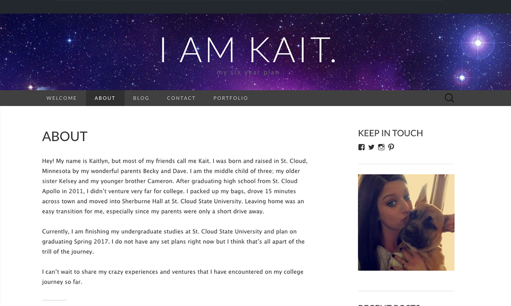 Visit WordPress site by Kaitlyn Anderman, Student at St. Cloud State University