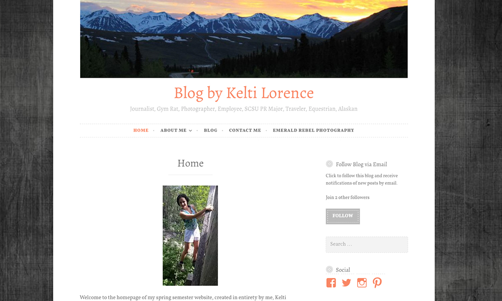 Visit WordPress site by Kelti Lorence, Student at St. Cloud State University
