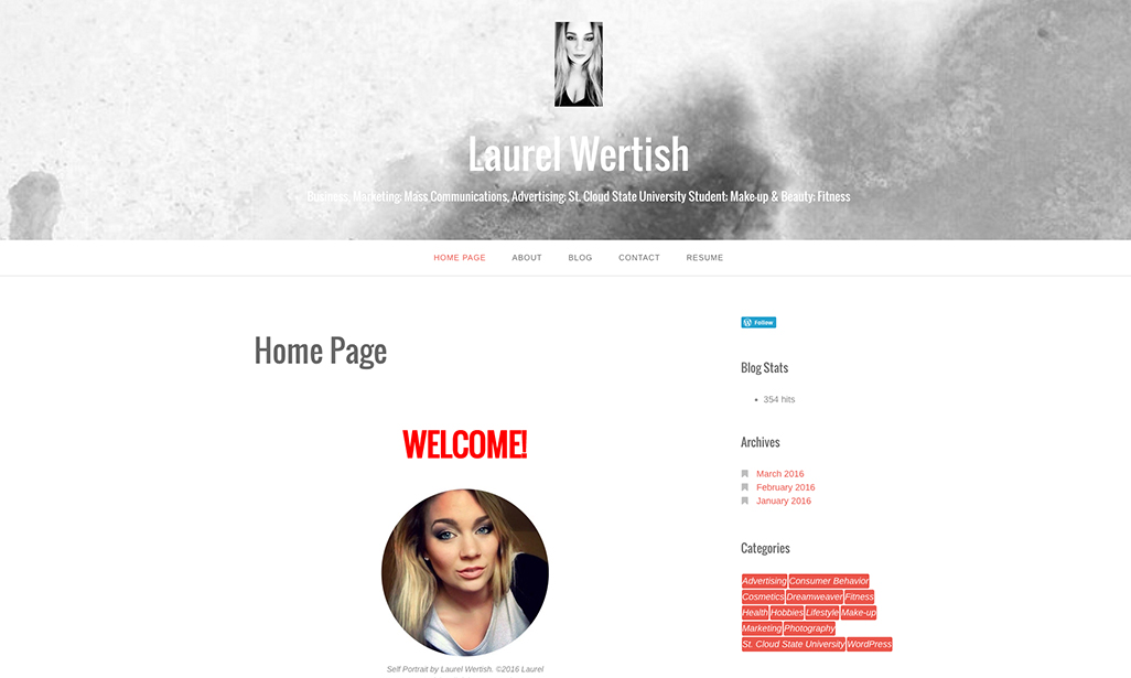 Visit WordPress site by Laurel Wertish, Student at St. Cloud State University