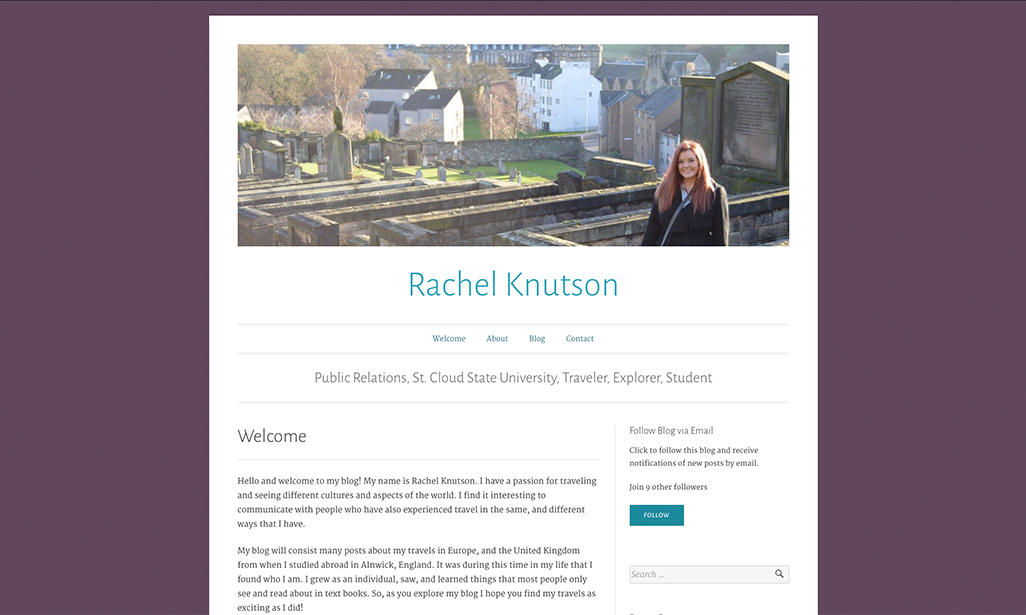 Visit WordPress site by Rachel Knutson, Student at St. Cloud State University
