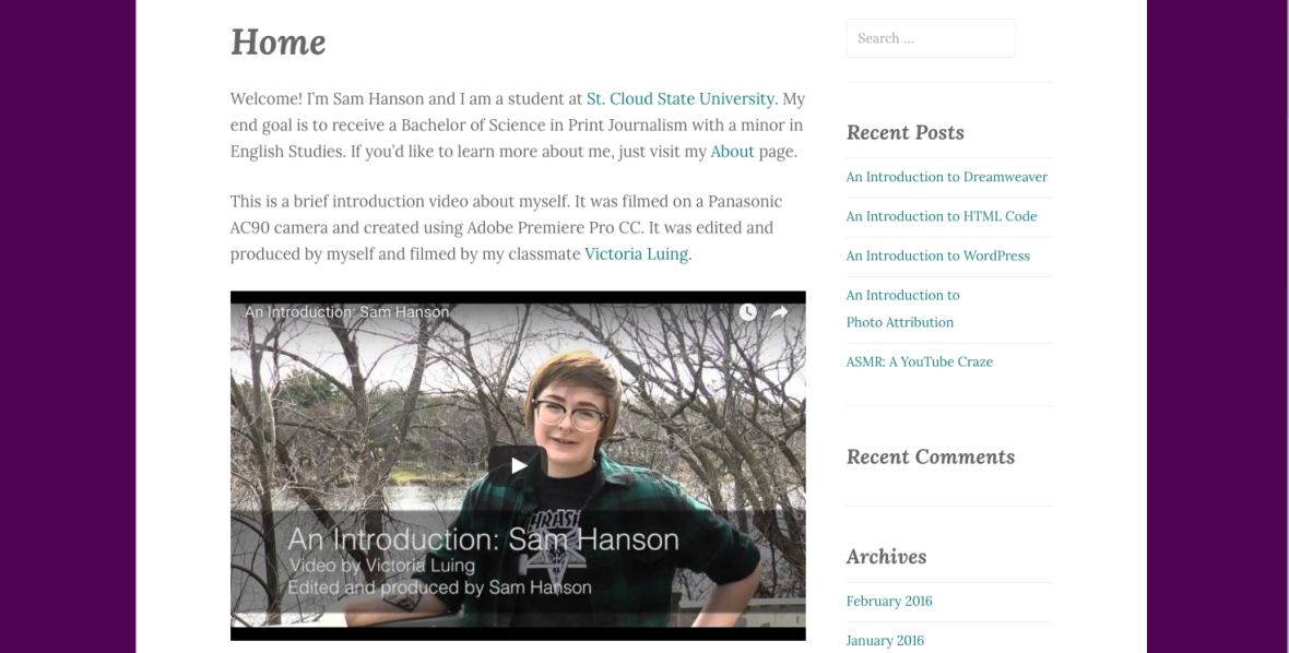 Visit WordPress site by Sam Hanson Student at St. Cloud State University