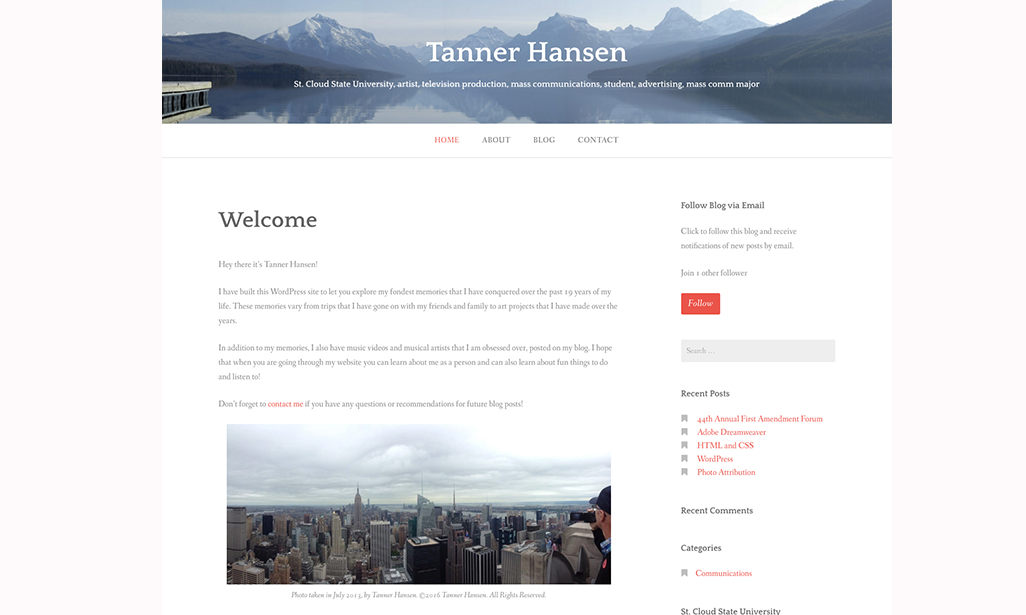 Visit WordPress site by Tanner Hansen, Student at St. Cloud State University