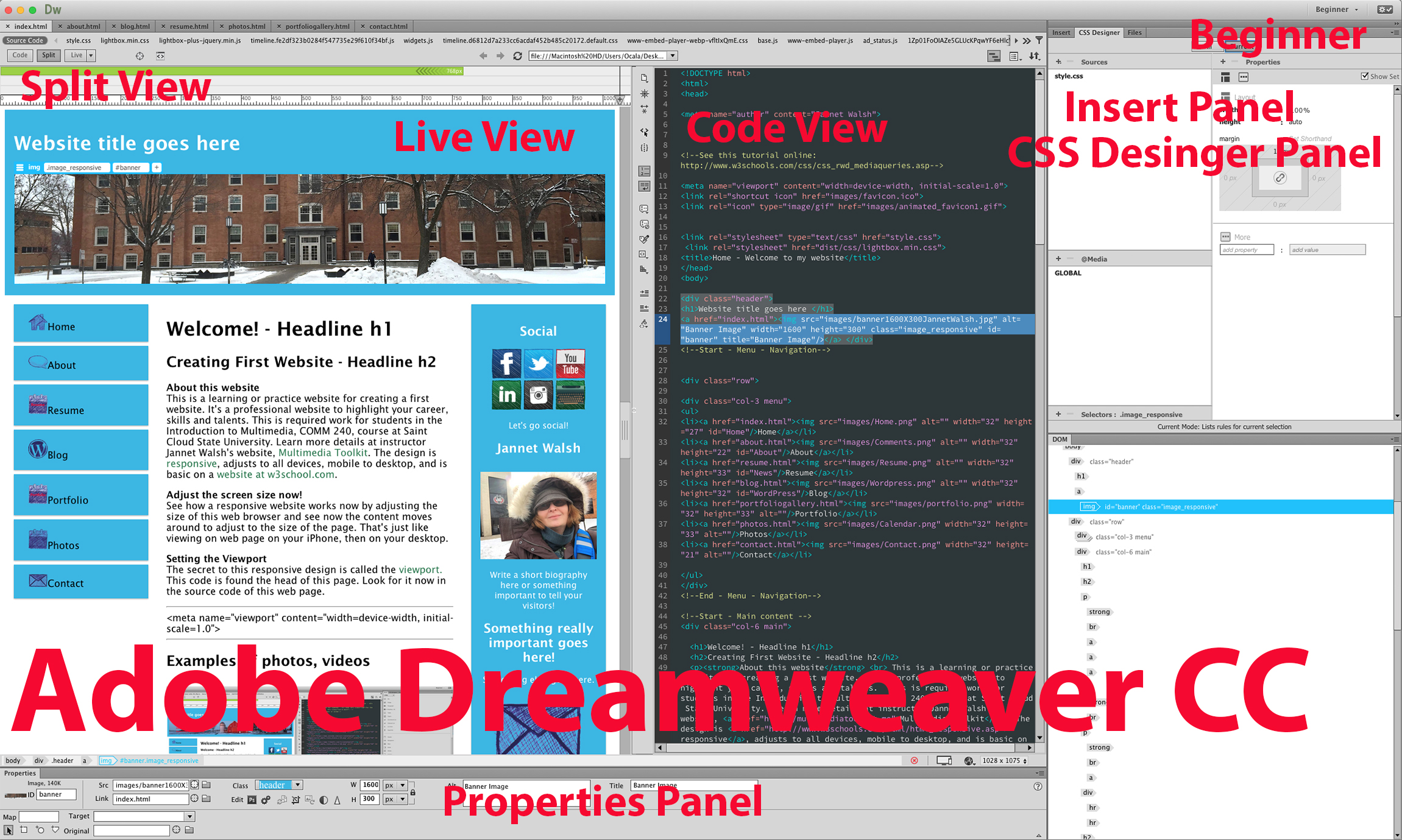 creating first website assignment multimedia toolkit here s the adobe dreamweaver cc window the spit view live web page on