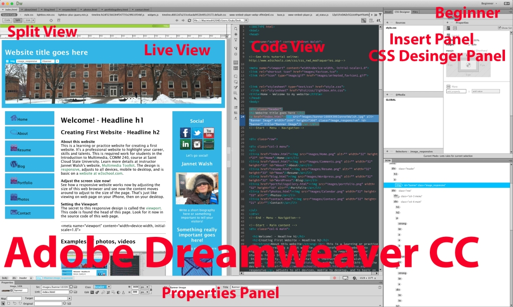 Here's the Adobe Dreamweaver CC window with the Spit View, with live web page on left and code on right. The panel setting is beginner, and the properties panel is located on the bottom of the window.