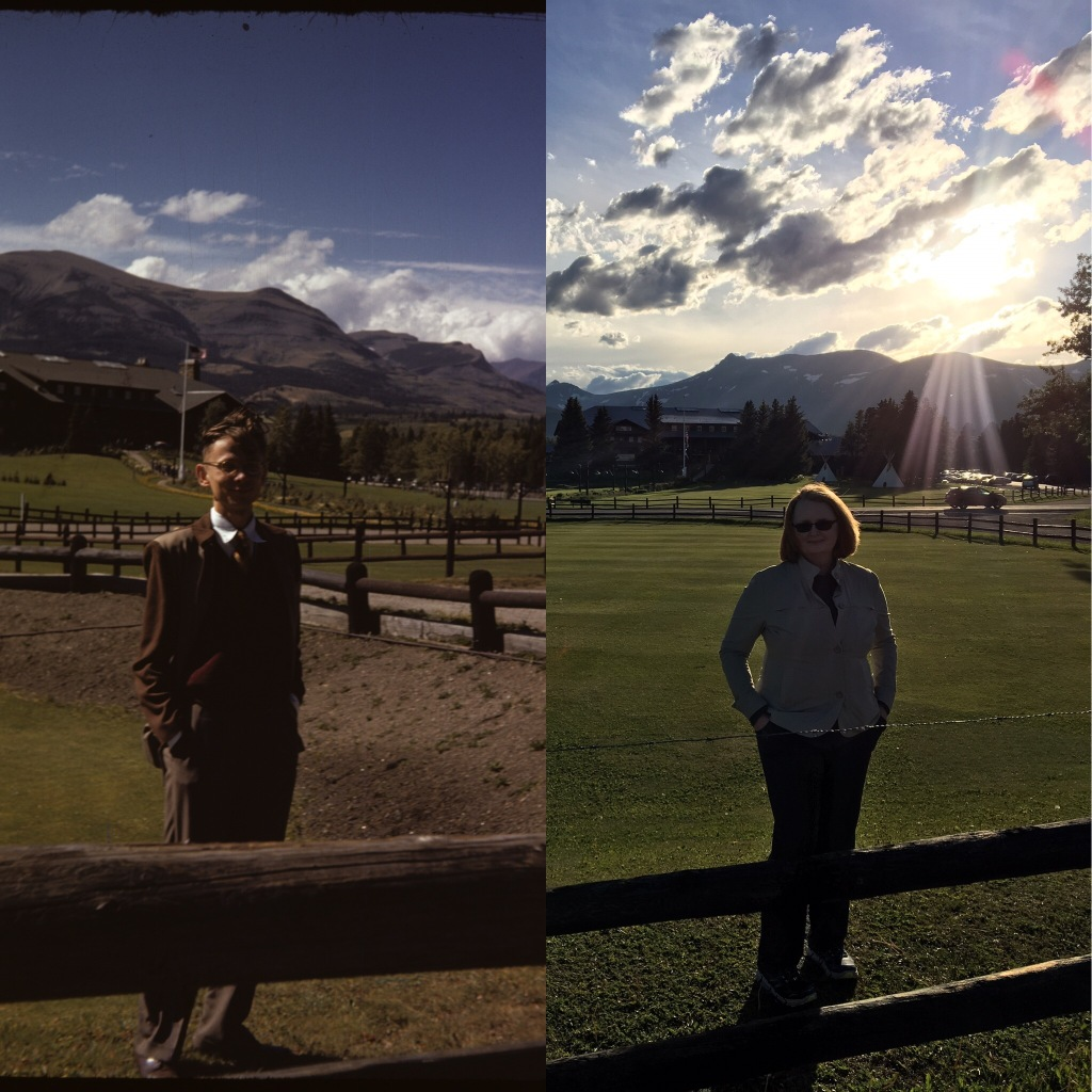 The photo on the left is my late father Martin J. Walsh Jr., in 1948, taken with Kodachrome. I'm on the right, photo taken with an iPhone 6s. Glacier Park, Inc. National Park Service.